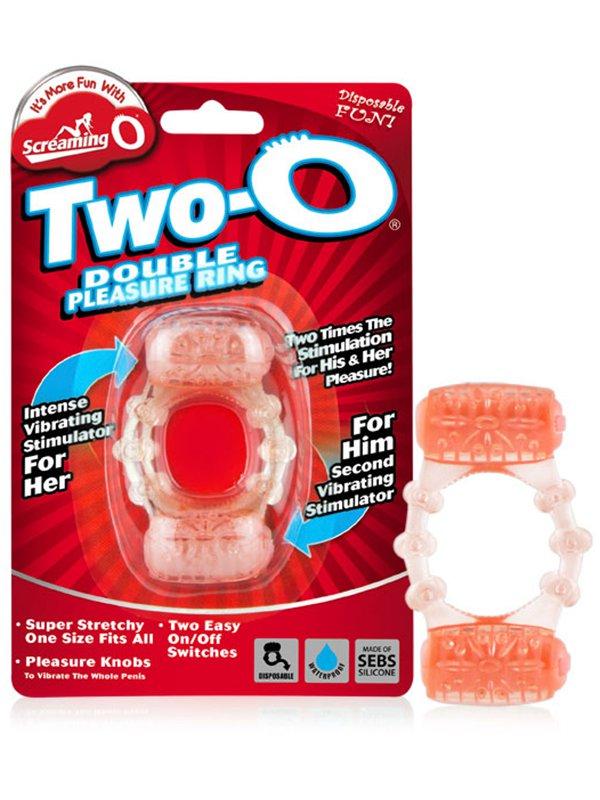 Эрекционное кольцо Screaming O - Quickie Two O с двойной стимуляцией – оранжевый