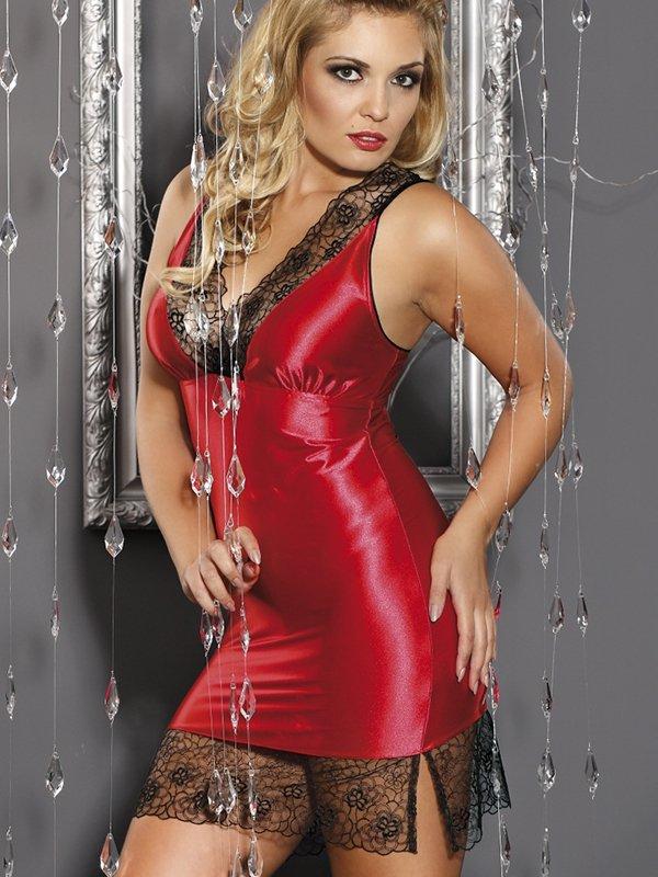 Сексуальная красная сорочка Andalea Tatiana с черным кружевом – XL
