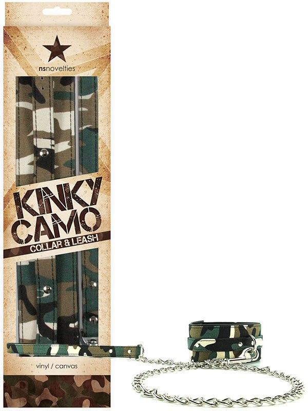 Ошейник Kinky Camo Collar & Leash с металлическим поводком