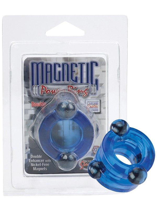 Двойное эрекционное кольцо с магнитами Magnetic Power Rings - синий