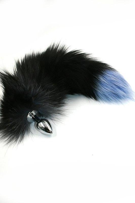 Маленькая алюминиевая анальная пробка Kanikule Small с хвостом из натурального меха – серебристый luxurious tail анальная пробка с белым хвостом черная силиконовая