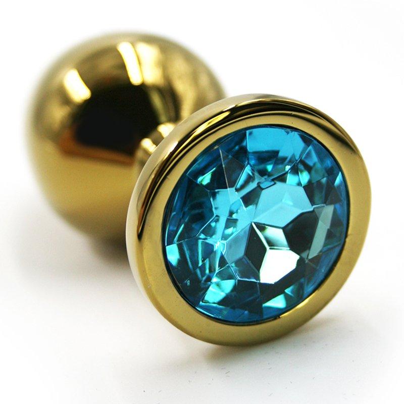 Средняя алюминиевая анальная пробка Kanikule Medium с кристаллом – золотистый с голубым