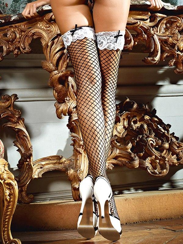 Чулки Shiny French Maid высокие в крупную сетку – черные