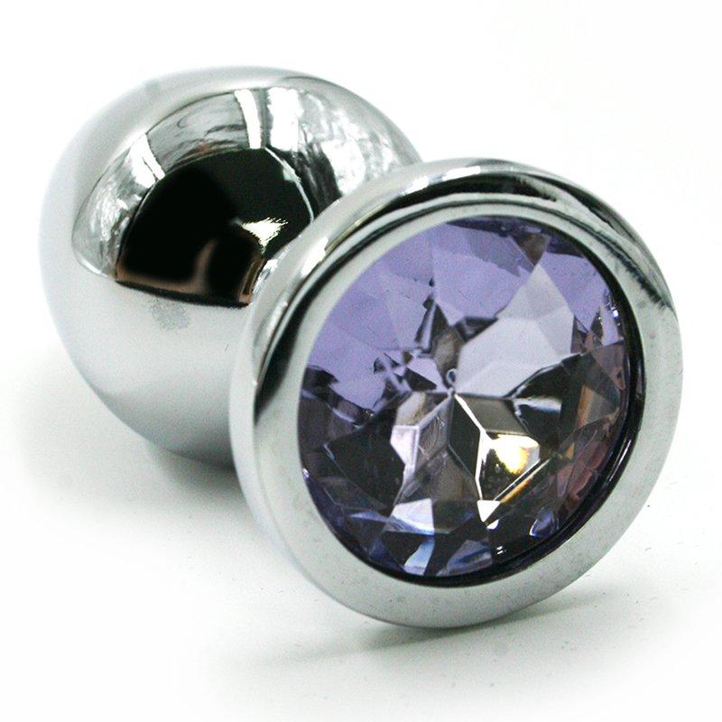Маленькая алюминиевая анальная пробка Kanikule Small с кристаллом – серебристый с лавандовым