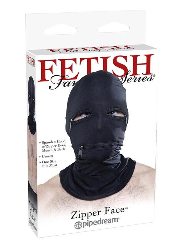 Маска на голову с молниями Zipper Face Hood – черный