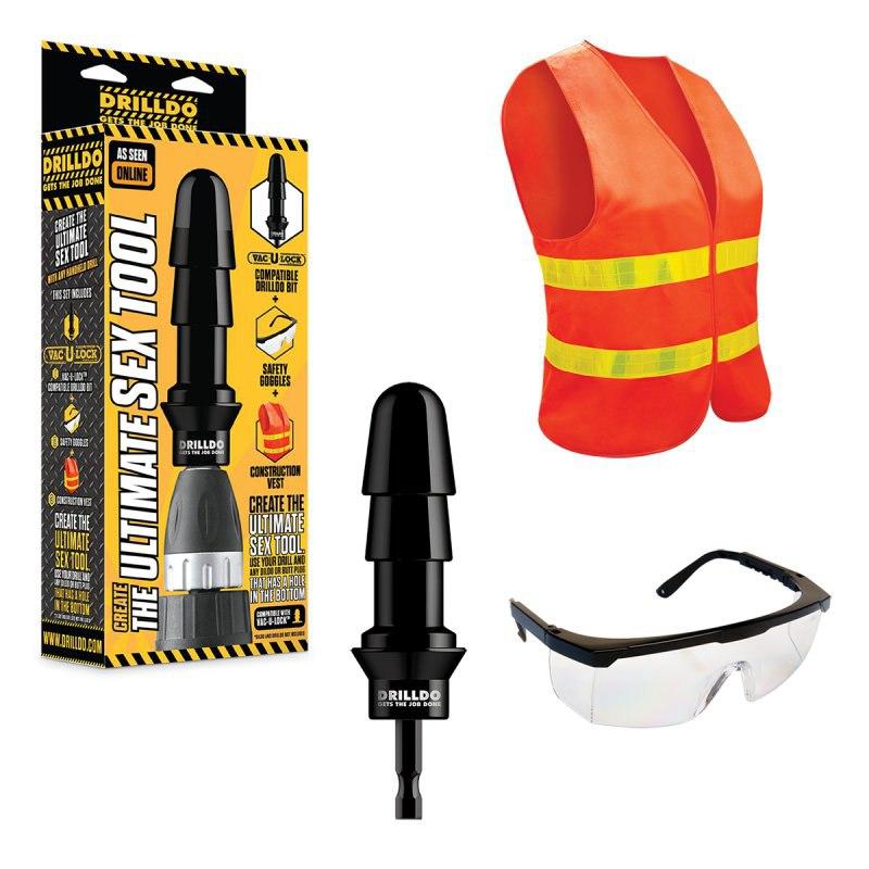 Комплект для секс-дрели Drilldo: бит-адаптер, очки, жилет - черный с оранжевым