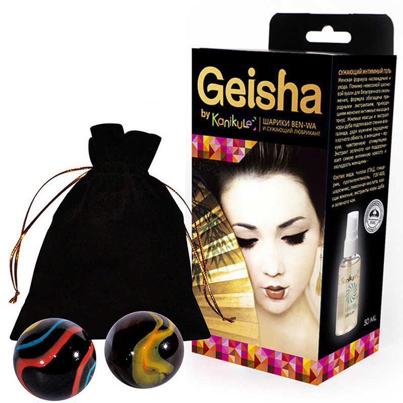Набор Kanikule Geisha: вагинальные шарики Ben-wa и сужающий лубрикант - оникс