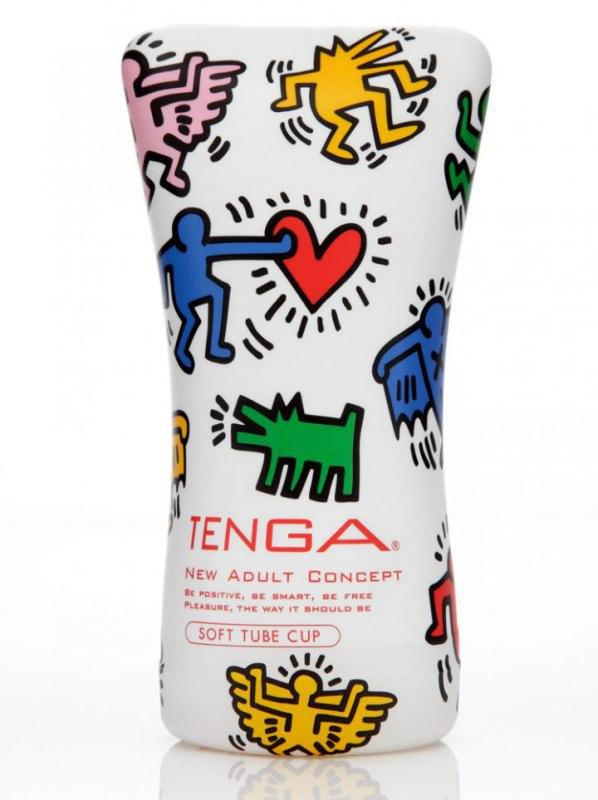 Tenga&Keith Haring мастурбатор Soft Tube - красный с белым