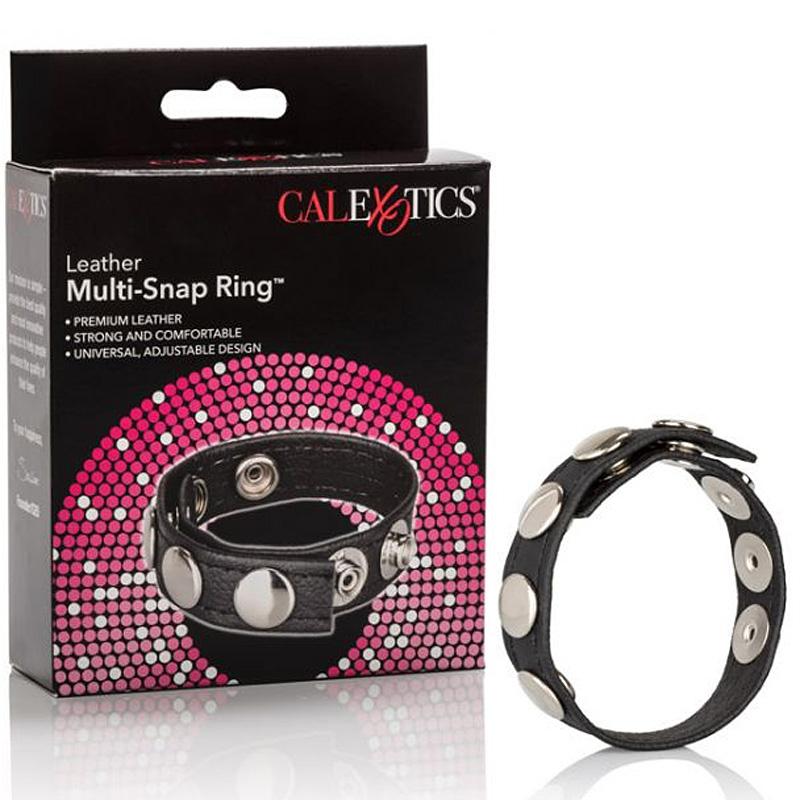 Кожаное кольцо на пенис Multi-Snap Ring – черный
