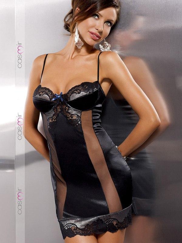 Соблазнительная сорочка Alexia (Casmir) с прозрачными вставками – черная, S/M