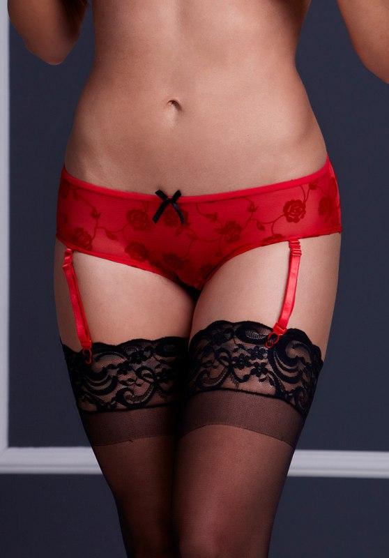 Красные трусики Baci White Label с вырезом и подвязками для чулок – S