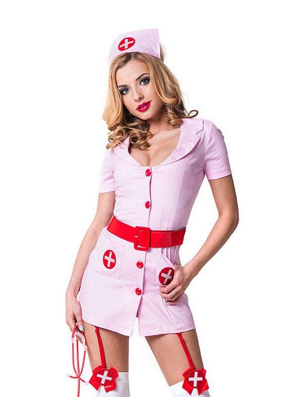 Эротический игровой костюм Le Frivole Похотливая Медсестра – розовый, S/M