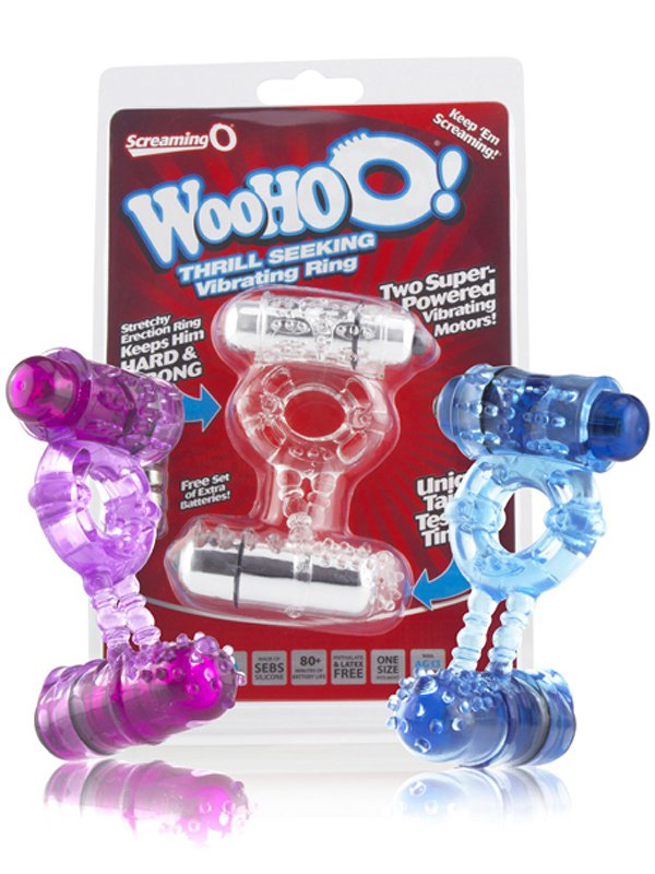Эрекционное кольцо Screaming O - Woo Hoo с двумя вибростимуляторами