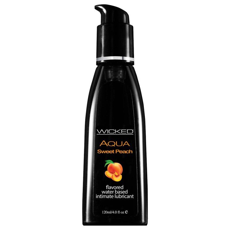 Съедобный лубрикант со вкусом спелого персика Wicked Aqua Sweet Peach - 120 мл