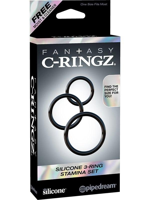 Набор из 3-х эрекционных колец 3-Ring Stamina Set  черный (Pipedream, США)