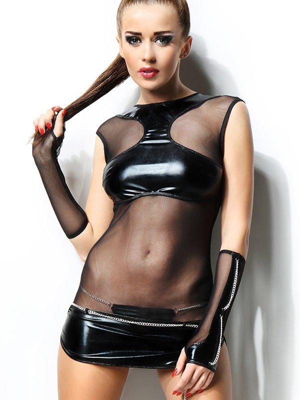 Платье с прозрачными вставками, перчатки и трусики Demoniq Anette – S/M