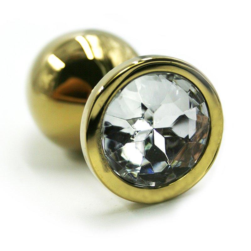 Большая алюминиевая анальная пробка Kanikule Large с кристаллом – золотистый с прозрачным