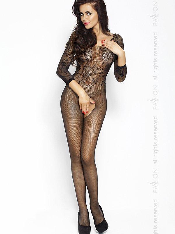 Костюм-сетка с рукавами Кроткая леди (Passion) – черный