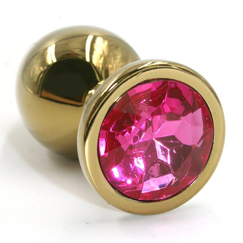 Средняя алюминиевая анальная пробка Kanikule Medium с кристаллом – золотистый с розовым