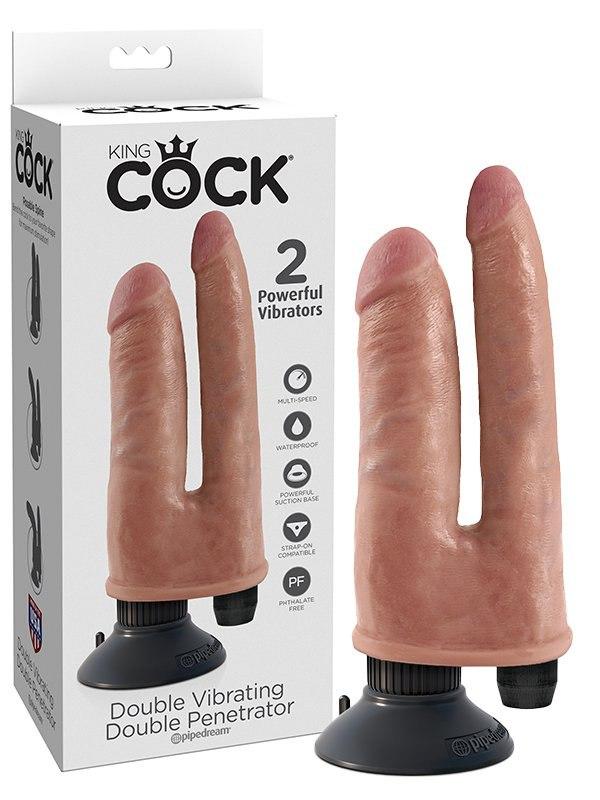 Вибратор для двойного проникновения Double Vibrating Penetrator – телесный