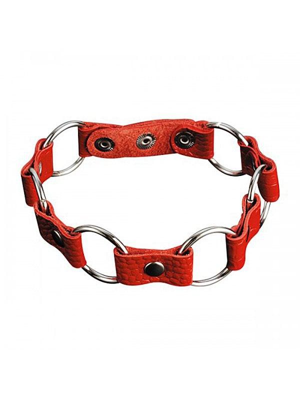 Кожаный ошейник с кольцами Sitabella – красный