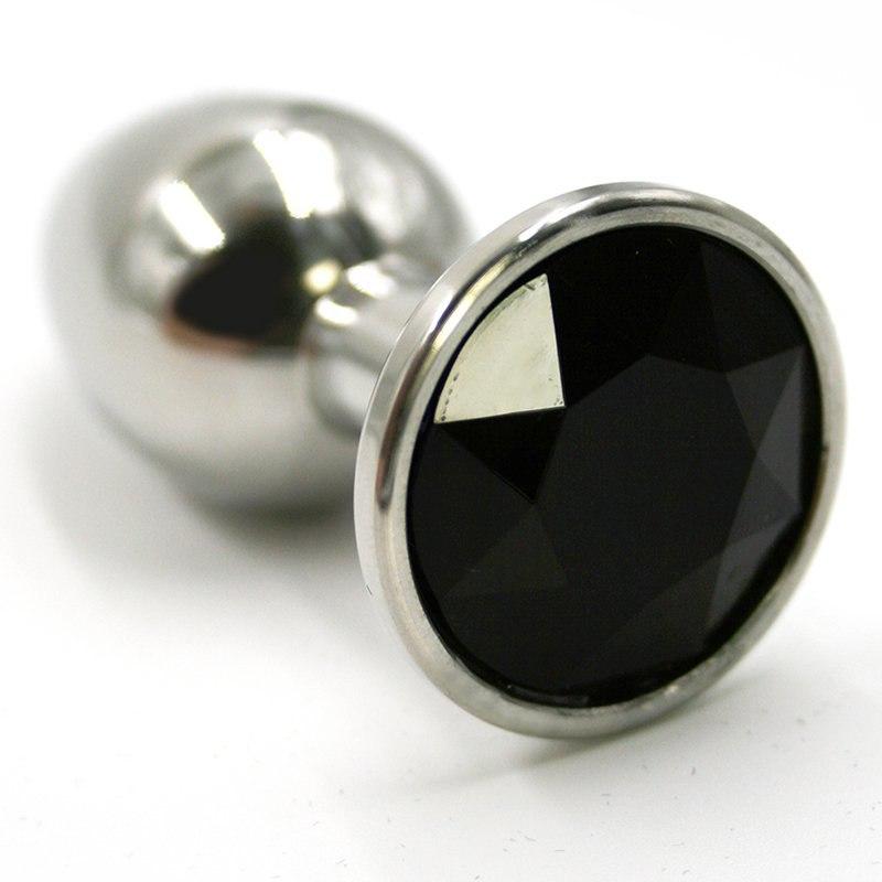 Средняя алюминиевая анальная пробка Kanikule Medium с кристаллом – серебристый с черным