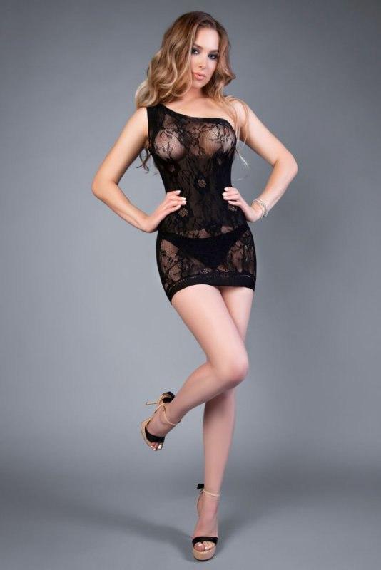 Платье Impulse на одно плечо - черный, S-L