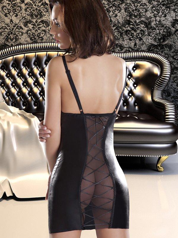 Элегантная черная сорочка Avanua Etna с трусиками – L/XL