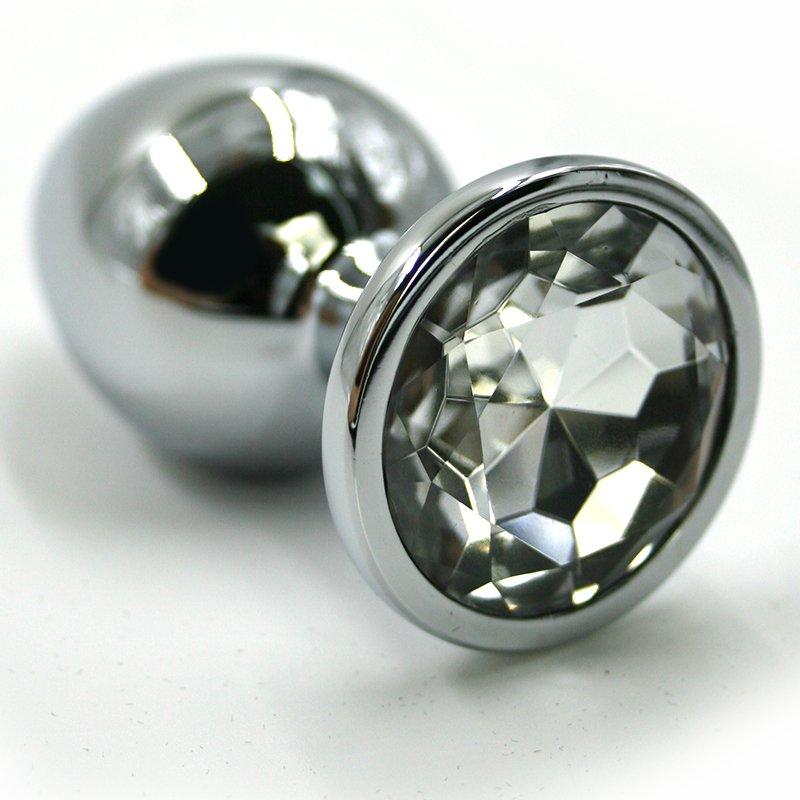 Маленькая алюминиевая анальная пробка Kanikule Small с кристаллом – серебристый с прозрачным