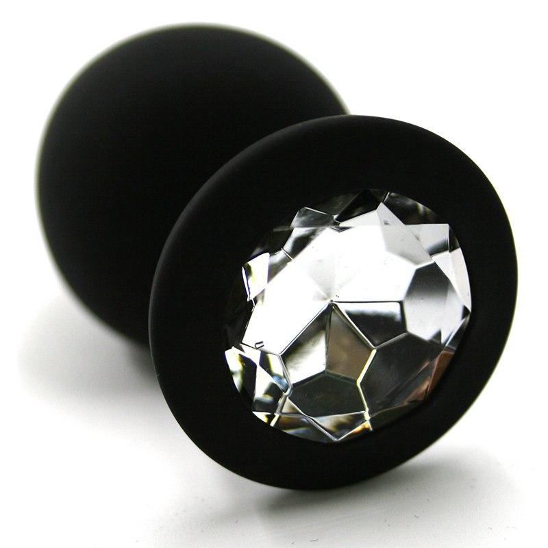 Средняя силиконовая анальная пробка Kanikule Medium с кристаллом – черный с прозрачным runyu rosebud butt plug medium серебристый прозрачный средняя анальная пробка с кристаллом