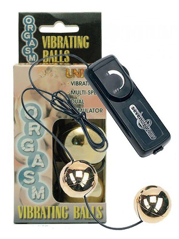 Шарики вагинальные Orgasm Vibrating Balls с вибрацией – золотистый от Он и Она