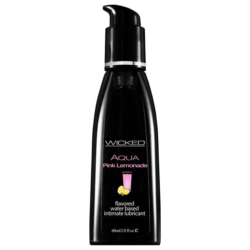 Съедобный лубрикант со вкусом розового лимонада Wicked Aqua Pink Lemonade - 60 мл