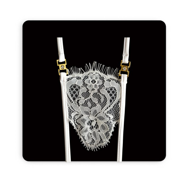 Белые кружевные трусики ручной работы Dolce Piccante La Fiore с доступом - M