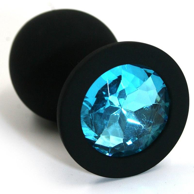 Средняя силиконовая анальная пробка Kanikule Medium с кристаллом – черный с голубым runyu rosebud butt plug medium серебристый прозрачный средняя анальная пробка с кристаллом