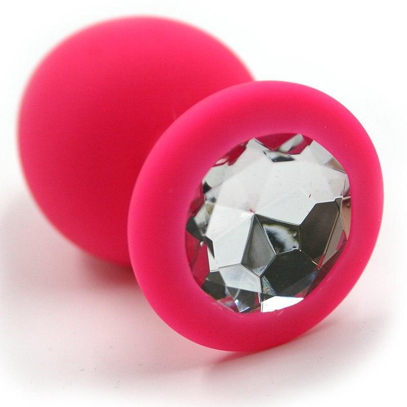 Средняя силиконовая анальная пробка Kanikule Medium с кристаллом – розовый с прозрачным runyu rosebud butt plug medium серебристый прозрачный средняя анальная пробка с кристаллом