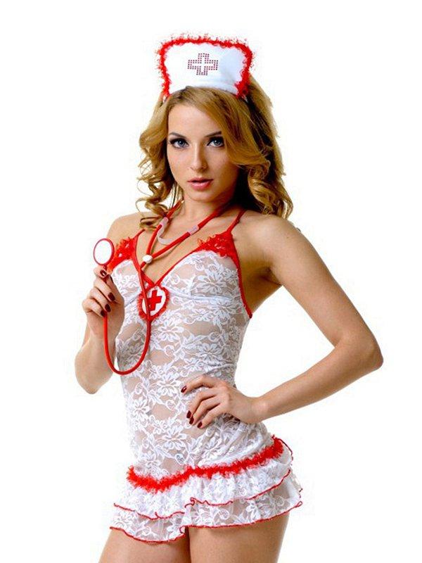 Эротический кружевной костюм Медсестры Le Frivole – белый, S/M