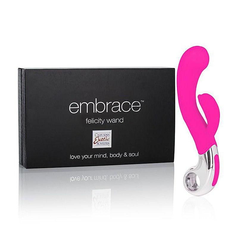 Перезаряжаемый вибромассажер хай-тек Embrace Felicity Wand со стимуляцией клитора - розовый
