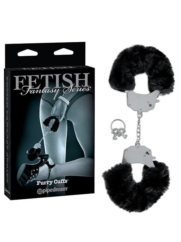Металлические наручники с искусственным мехом Furry Cuffs – черный
