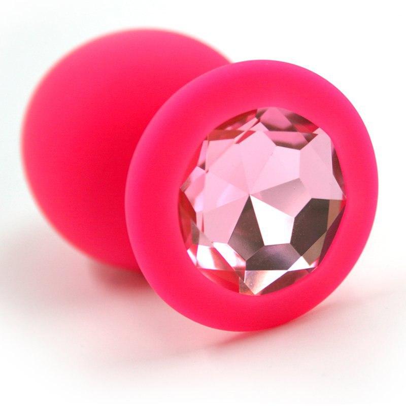 Большая силиконовая анальная пробка Kanikule Large с кристаллом – розовый со светло-розовым