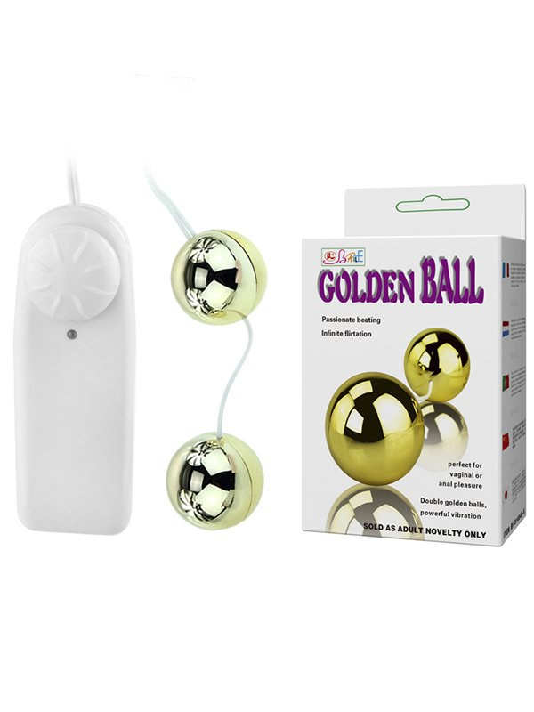 Шарики вагинальные гладкие Golden Ball с вибрацией и пультом управления  золотой