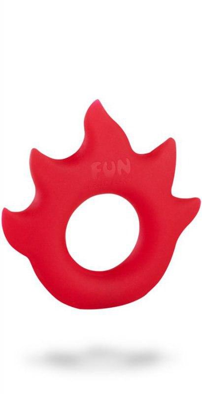 Эрекционное кольцо Flame со стимулятором клитора - красный