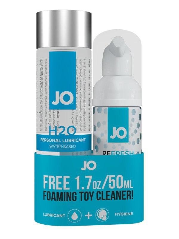 Набор JO из лубриканта Personal H2O и очистителя Refresh Foaming Toy Cleaner
