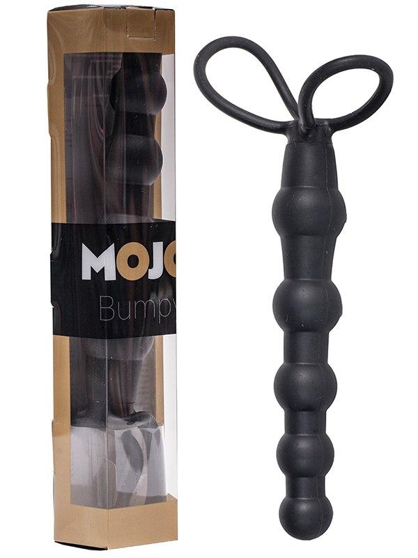 Насадка-анальная цепочка Mojo Bumpy с эластичными кольцами – черная