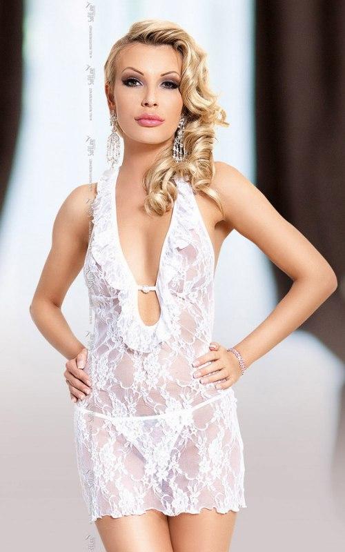 Комплект КАРМЕН белого цвета: ажурная сорочка и стринги – M/L