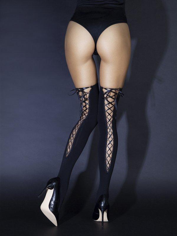 Чулки со шнуровкой сзади (Sense) soft line чулки белые в сеточку со швом