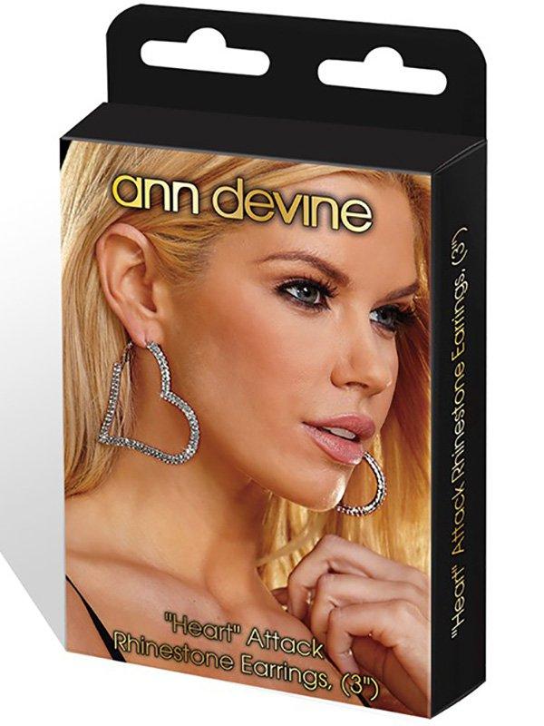Серьги-сердечки Ann Devine - Heart Attack с кристаллами – серебристый