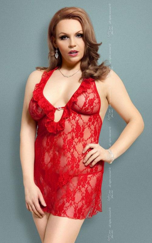 Комплект КАРМЕН красного цвета: ажурная сорочка и стринги – XXL