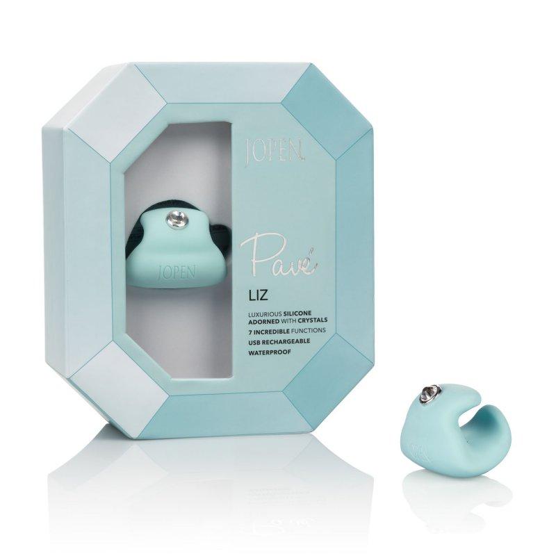 Элегантный вибромассажёр-кольцо Calexotics Pave Liz - голубой