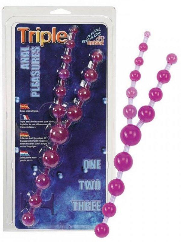 Тройные анальные шарики Triple Anal Pleasures – фиолетовый от Он и Она