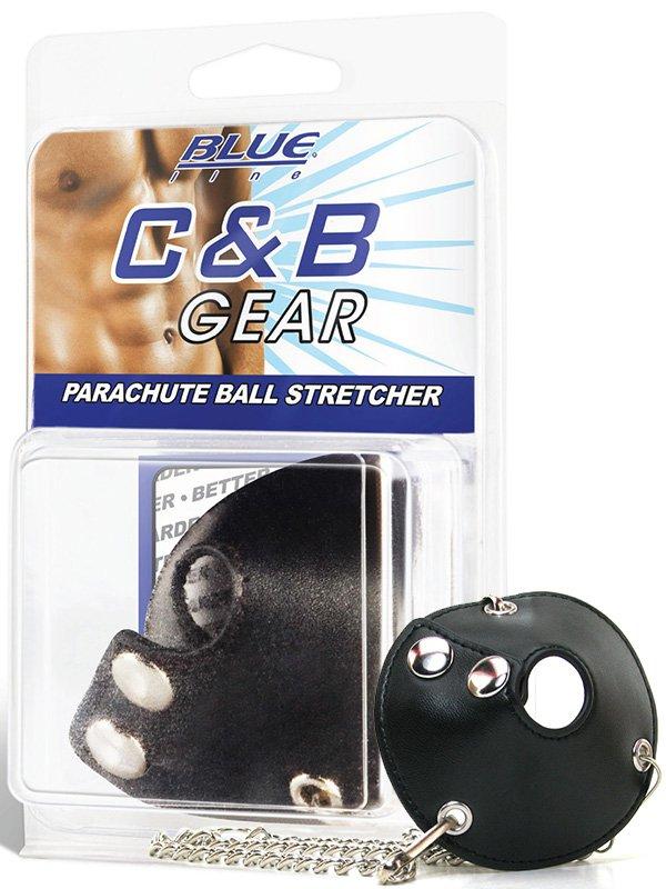 Кожаная утяжка для мошонки Parachute Ball Stretcher с цепочками – черный